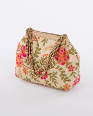 Orange Embroidered Evening Bag