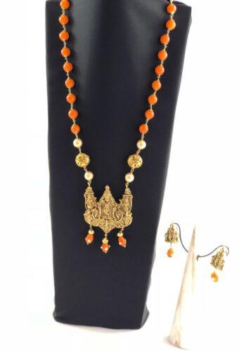laality-uk-orange-&-gold-beaded-necklace-accessories