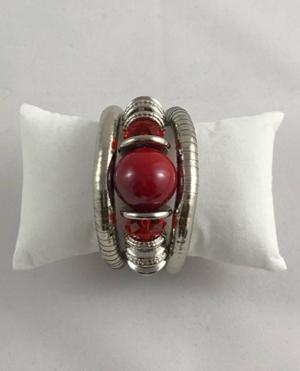 Silver Red Bead Bracelet
